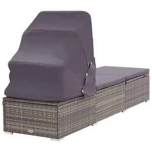 Sun Lounger with Canopy and Cushion Poly Rattan Grey