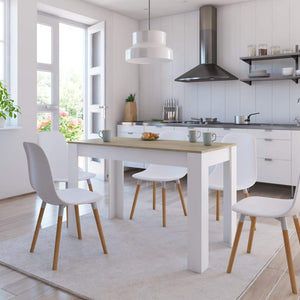 Dining Table White and Sonoma Oak 120x60x76 cm Chipboard