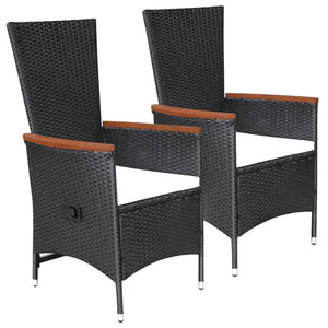Outdoor Chairs 2 pcs with Cushions Poly Rattan Black sku 47675