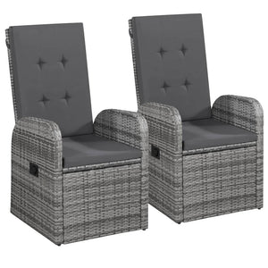 Reclining Garden Chairs 2 pcs with Cushions Poly Rattan Grey sku 47676