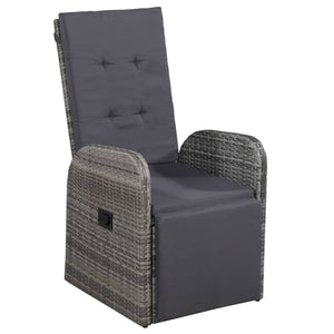 Reclining Garden Chair with Cushion Poly Rattan Grey