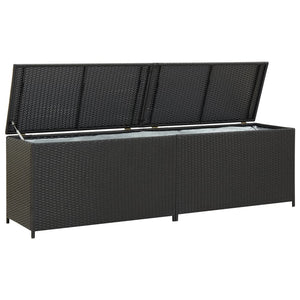 Garden Storage Box Poly Rattan 200x50x60 cm Black