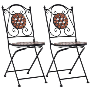 Mosaic Bistro Chairs 2 pcs Brown Ceramic
