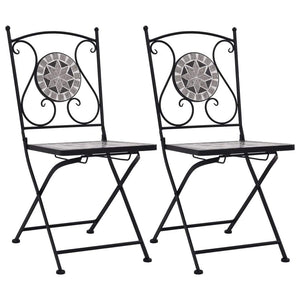 Mosaic Bistro Chairs 2 pcs Grey