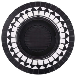 Mosaic Fire Pit Black and White 68cm Ceramic