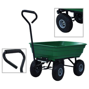 Garden Tipping Hand Cart 300 kg 75L Green