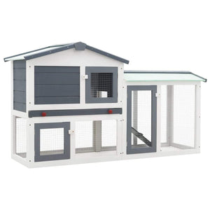 Outdoor Large Rabbit Hutch Grey and White 145x45x85 cm Wood