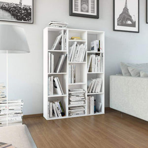 Room Divider/Book Cabinet High Gloss White 100x24x140 cm Chipboard