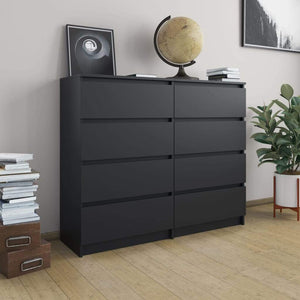 Drawer Sideboard Black 120x35x99 cm Chipboard