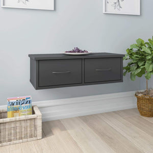 Wall-mounted Drawer Shelf High Gloss Grey 60x26x18.5 cm Chipboard