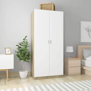 Wardrobe White and Sonoma Oak 90x52x200 cm Chipboard