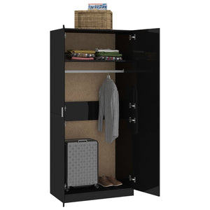 Wardrobe High Gloss Black 90x52x200 cm Chipboard
