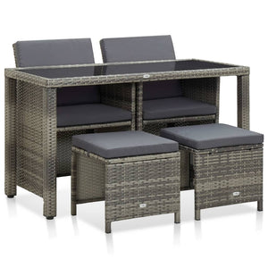 5 Piece Outdoor Dining Set with Cushions Poly Rattan Grey sku 46535