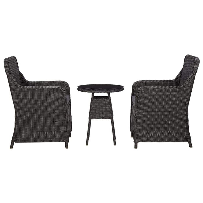 3 Piece Garden Bistro Set with Cushions Poly Rattan Black