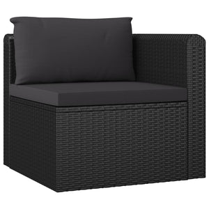 2 Piece Garden Sofa Set with Cushions Poly Rattan Black