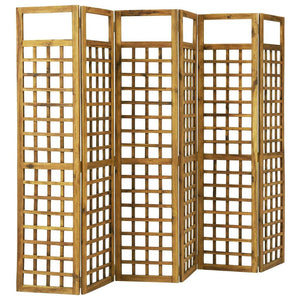 6-Panel Room Divider/Trellis Solid Acacia Wood 240x170 cm