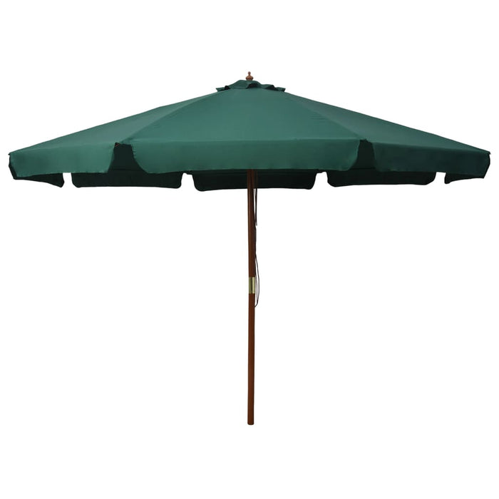 Outdoor Parasol with Wooden Pole 330 cm Green