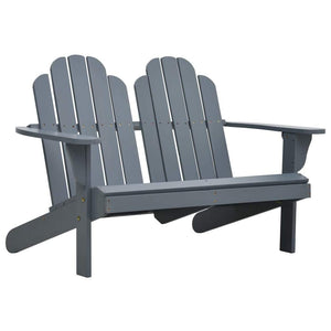 Double Adirondack Chair Wood Grey