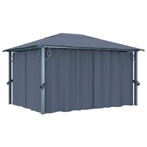 Gazebo with Curtain 400x300 cm Anthracite Aluminium
