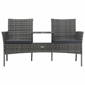 2-Seater Garden Sofa with Tea Table Poly Rattan Anthracite