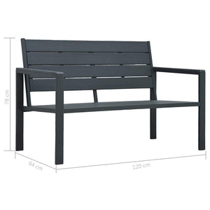 Garden Bench 120 cm HDPE Grey Wood Look