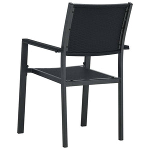 Garden Chairs 2 pcs Black Plastic Rattan Look
