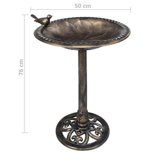 Garden Bird Bath Bronze Plastic