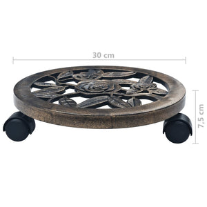 Plant Trolleys 6 pcs Bronze 30 cm Plastic