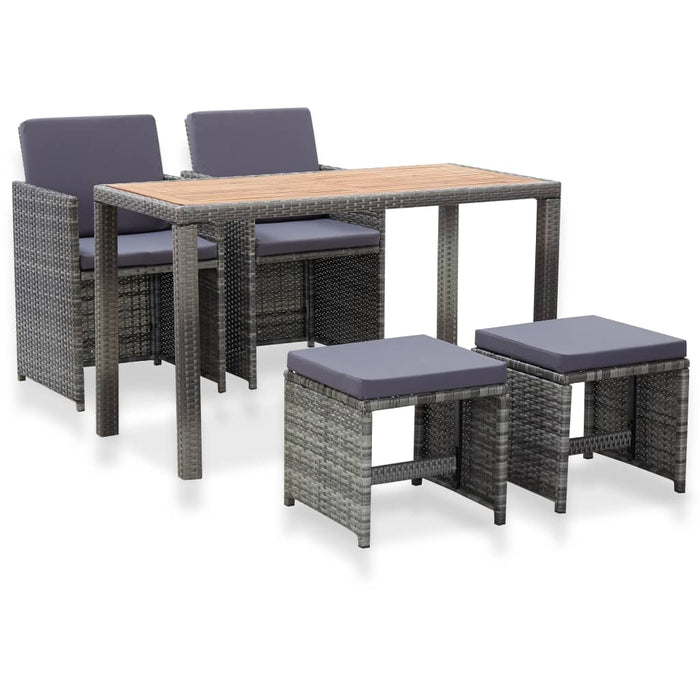 5 Piece Outdoor Dining Set Poly Rattan and Acacia Wood Anthracite
