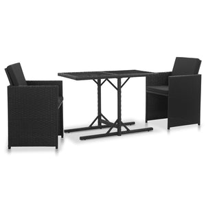 3 Piece Outdoor Dining Set with Cushions Poly Rattan Black