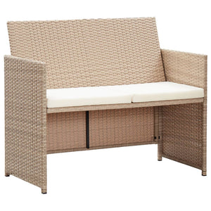 2 Seater Garden Sofa with Cushions Beige Poly Rattan