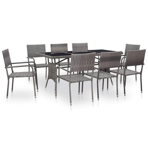 9 Piece Outdoor Dining Set Poly Rattan Grey sku 46411