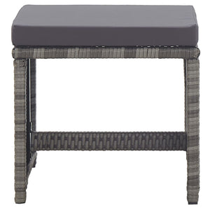 Garden Stools 2 pcs with Cushions Poly Rattan Anthracite