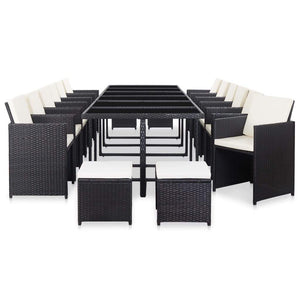 17 Piece Outdoor Dining Set with Cushions Poly Rattan Black