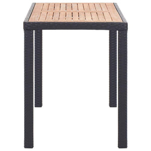 Garden Table Black and Brown 123x60x74 cm Solid Acacia Wood