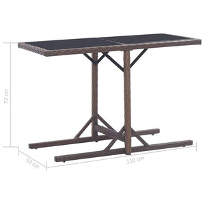 Garden Table Brown 110x53x72 cm and Poly Rattan