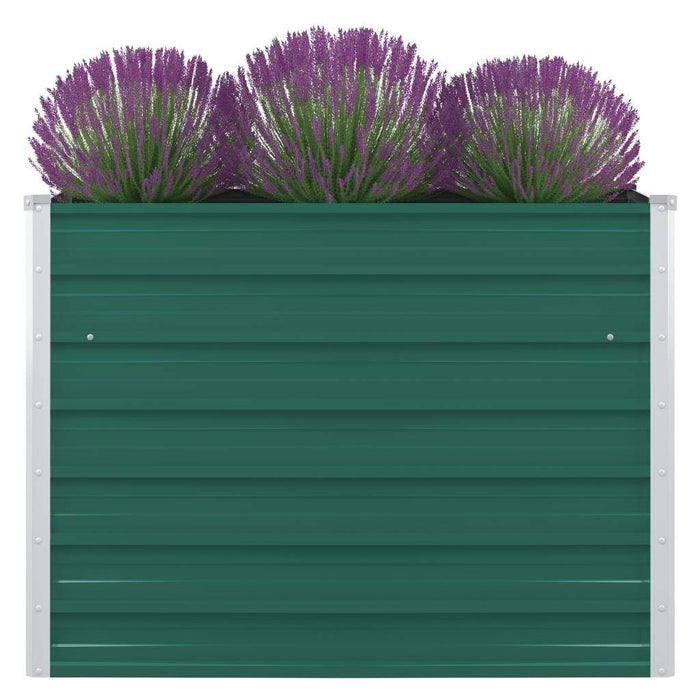 Raised Garden Bed 100x100x77 cm Galvanised Steel Green