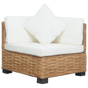 Corner Sofa with Cushions Natural Rattan