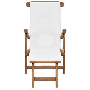 Deck Chair with Cushion Cream White Solid Teak Wood