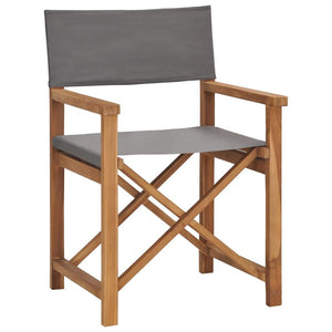 Director's Chair Solid Teak Wood Grey