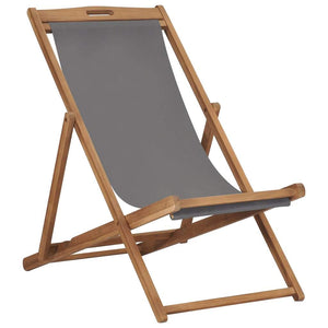 Folding Beach Chair Solid Teak Wood Grey
