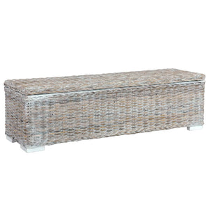 Storage Box 120 cm White Kubu Rattan and Solid Mango Wood - sku 285796
