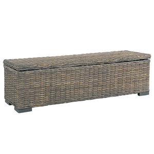Storage Box 120 cm Grey Kubu Rattan and Solid Mango Wood - sku 285797