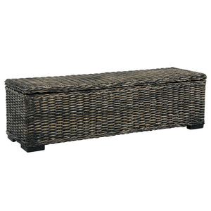 Storage Box 120 cm Black Kubu Rattan and Solid Mango Wood - sku 285798