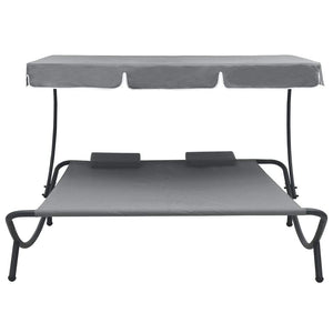 Outdoor Lounge Bed with Canopy and Pillows Grey