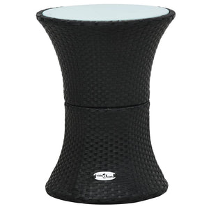 Garden Side Table Drum Shape Black Poly Rattan