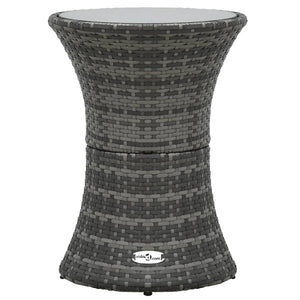 Garden Side Table Drum Shape Grey Poly Rattan