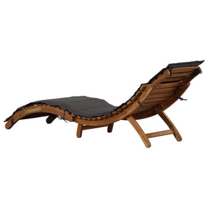 Sun Lounger with Cushion Solid Acacia Wood Dark Grey