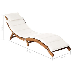 Sun Lounger with Cushion Solid Acacia Wood Cream
