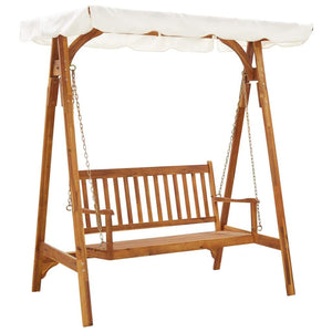 Garden Swing Bench with Canopy Solid Acacia Wood